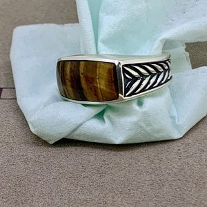 David Yurman Chevron Ring with Tiger Eye